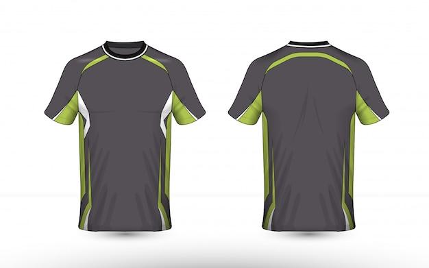 Modello di design t-shirt di e-sport con layout grigio, verde e bianco Vettore Premium