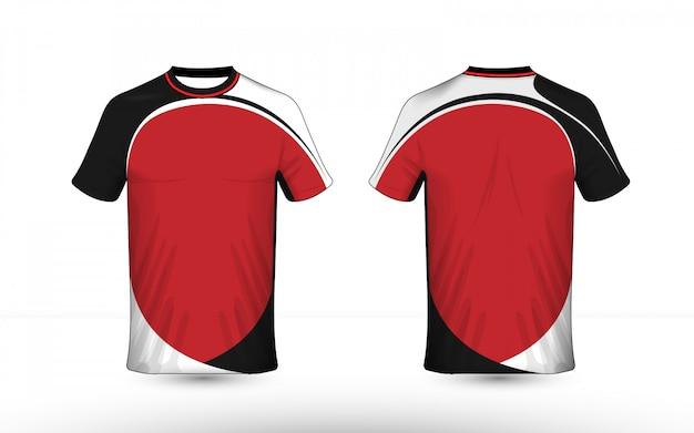 Modello di design t-shirt e-sport con layout nero bianco e rosso Vettore Premium