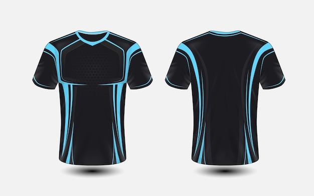 Modello di design t-shirt e-sport layout nero e blu Vettore Premium