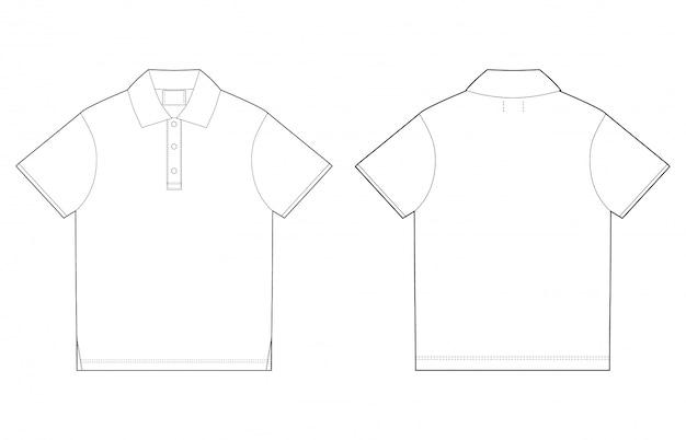 Modello di design t-shirt polo. davanti e dietro Vettore Premium
