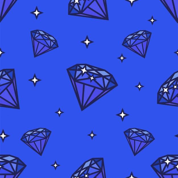 Modello di diamanti senza soluzione di continuità. illustrazione su sfondo blu. forma della gemma e stelle Vettore Premium