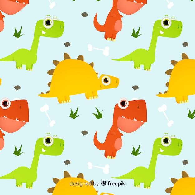 Modello di dinosauro piatto Vettore gratuito