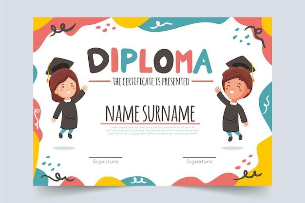 Modello di diploma creativo per bambini Vettore gratuito