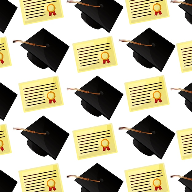 Modello di diploma e cappelli pergamena Vettore Premium