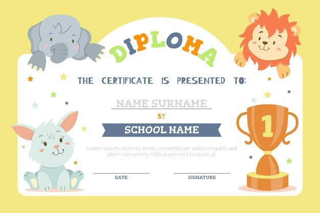 Modello di diploma per bambini con animali della savana Vettore gratuito