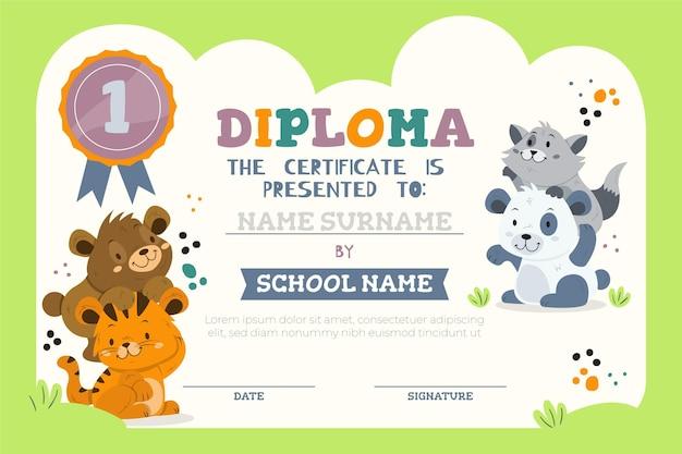 Modello di diploma per bambini con animali Vettore gratuito