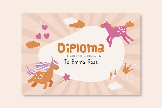 Modello di diploma per bambini con unicorni Vettore gratuito
