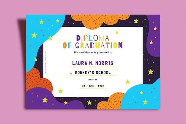 Modello di diploma per bambini Vettore gratuito