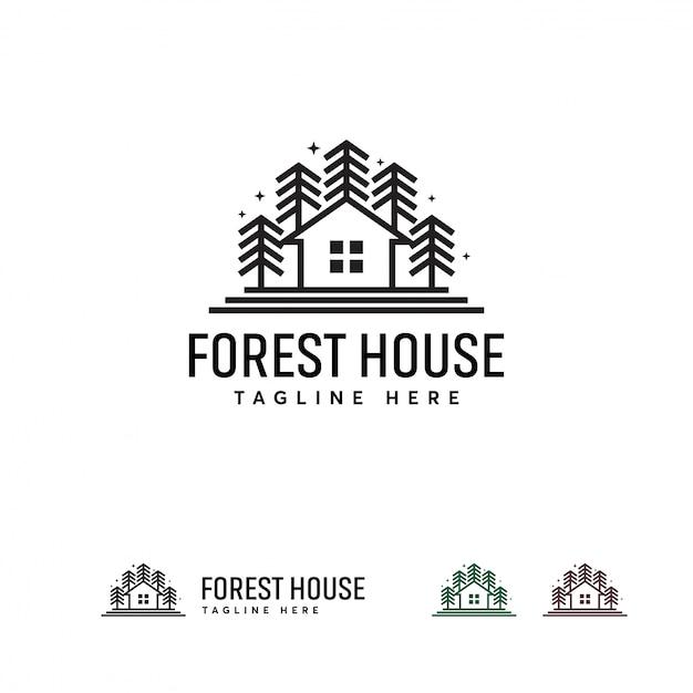 Modello di disegni logo forest house, modello logo green house Vettore Premium