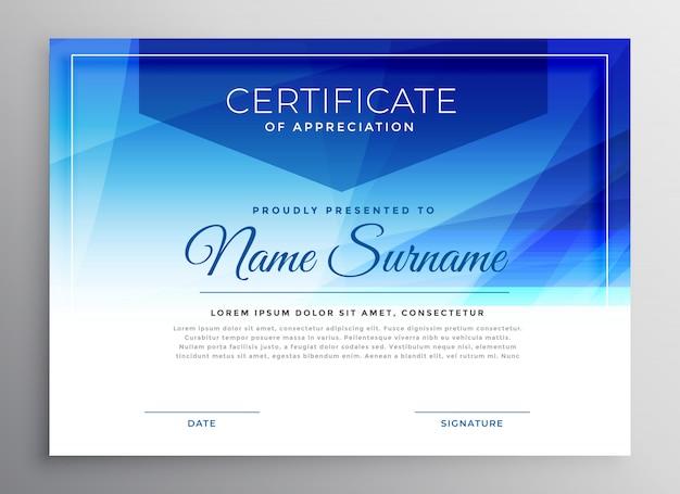 Modello di disegno astratto blu premio certificato Vettore gratuito