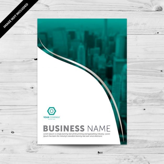 Modello di disegno del flyer di affari con il cityline blu del teal Vettore Premium