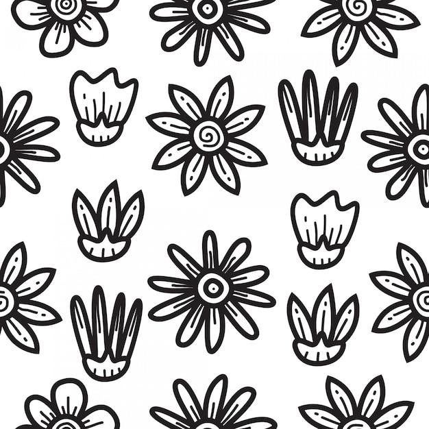 Modello di disegno del modello di fiore di doodle Vettore Premium