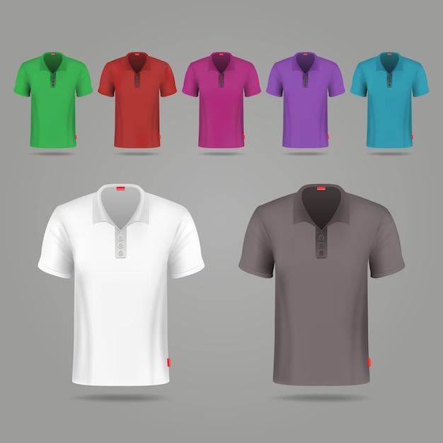 Modello di disegno di t-shirt vettore maschio nero, bianco e colore. set di t-shirt colorate per lo sport, illust Vettore Premium