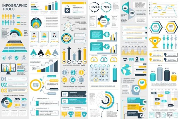 Modello di disegno di vettore di elementi di infografica Vettore Premium