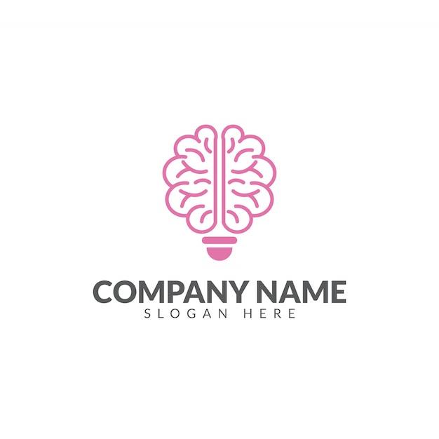 Modello di disegno di vettore di logo di cervello e lampadina Vettore Premium