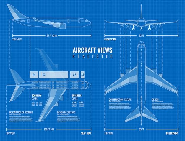 Modello di disegno quotato industriale dell'aviazione del lato superiore dell'aeroplano di contorno e viste frontali realistiche Vettore gratuito