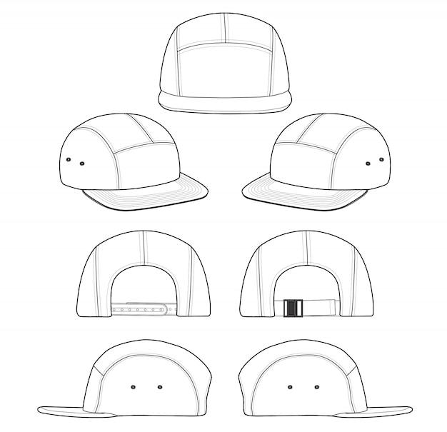 Modello di disegno tecnico di camp cap fashion flat Vettore Premium