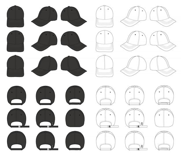 Modello di disegno tecnico piatto berretto da baseball moda Vettore Premium