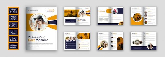 Modello di disegno vettoriale brochure fotografia Vettore Premium