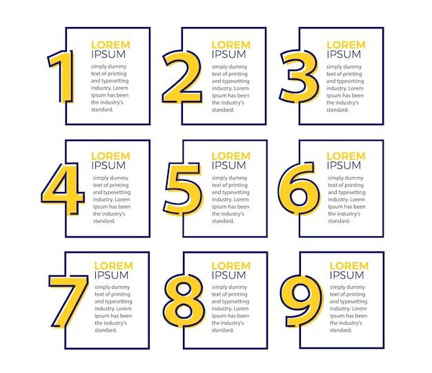 Modello di disegno vettoriale infografica con 9 opzioni Vettore Premium