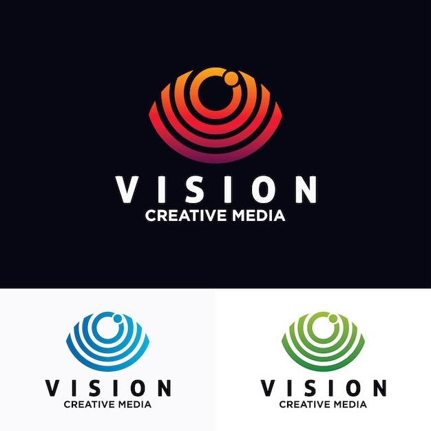 Modello di disegno vettoriale logo occhio Vettore Premium