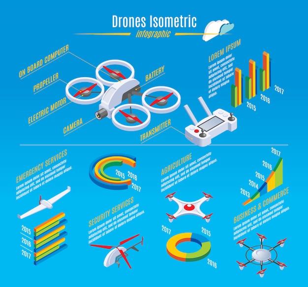 Modello di droni isometrica infografica con costruzione quadrocopter Vettore gratuito