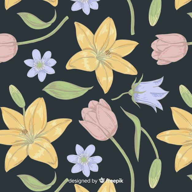 Modello di elementi floreali vintage Vettore gratuito