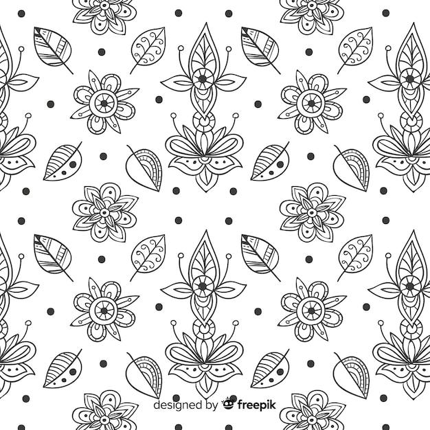Modello di elemento floreale disegnato a mano Vettore gratuito