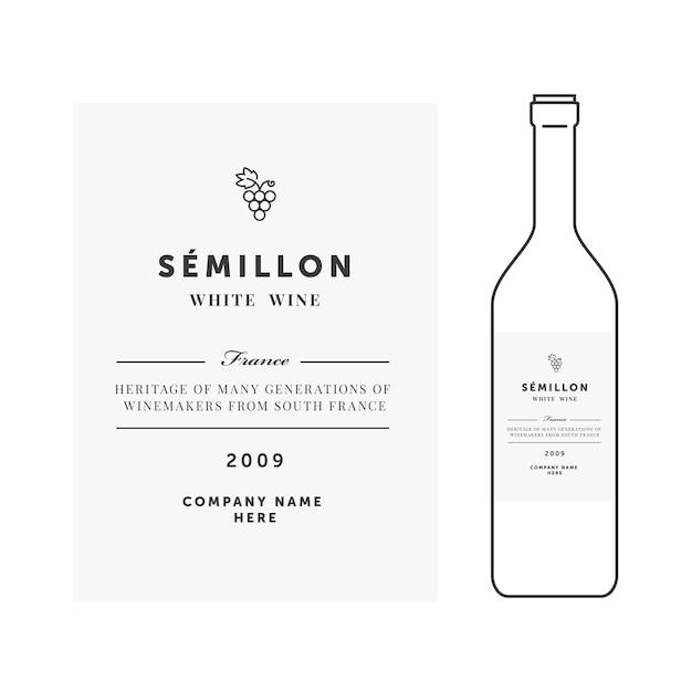 Modello di etichetta del vino bianco Vettore Premium