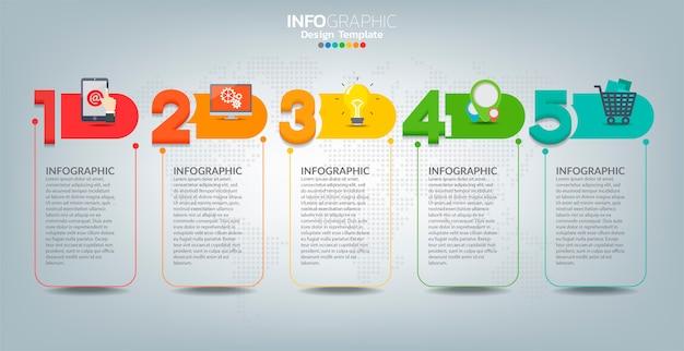 Modello di etichetta infografica vettoriale con icone e 5 opzioni o passaggi. Vettore Premium