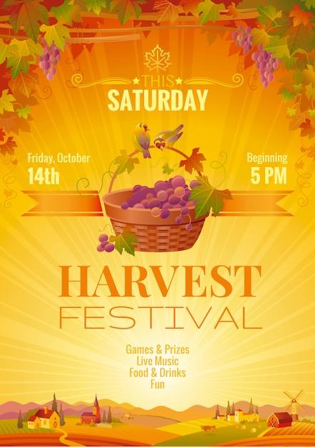 Modello di evento del manifesto del festival del raccolto. design di invito festa autunno. illustrazione vettoriale Vettore Premium
