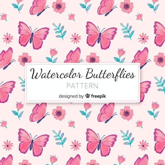Modello di farfalle ad acquerello Vettore gratuito
