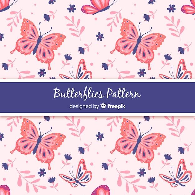 Modello di farfalle piatte Vettore gratuito