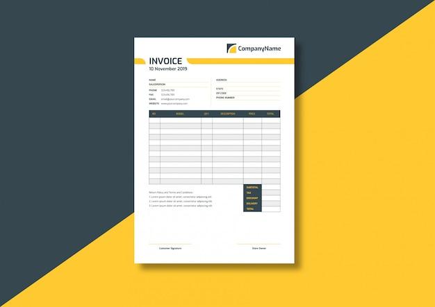 Modello di fattura professionale moderno professionale Vettore Premium