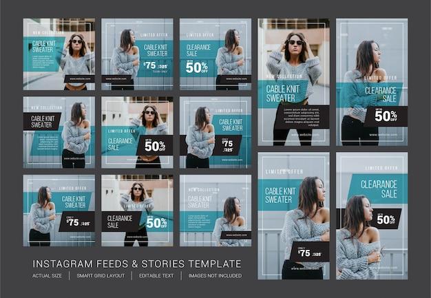 Modello di feed e storie di instagram Vettore Premium