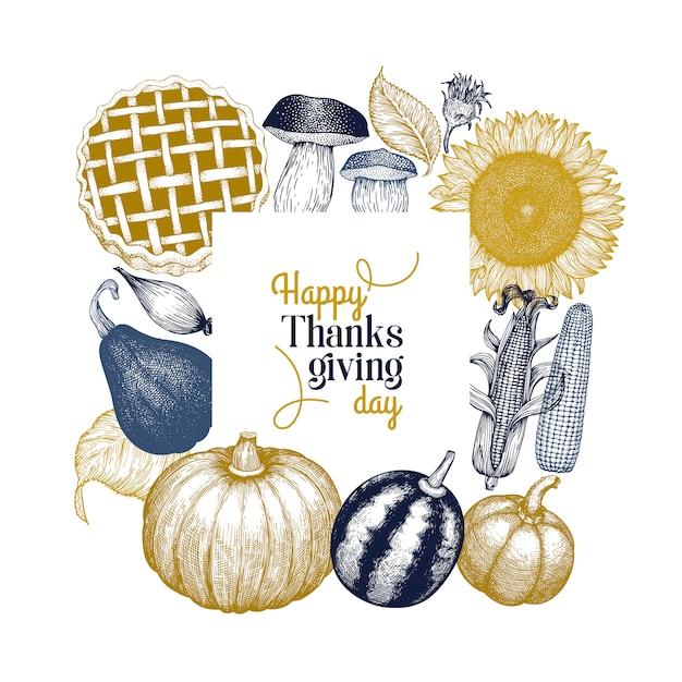 Modello di felice giorno del ringraziamento. illustrazioni disegnate a mano. Vettore Premium