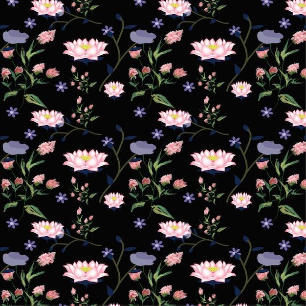 Modello di fiore di loto rosa. Vettore Premium