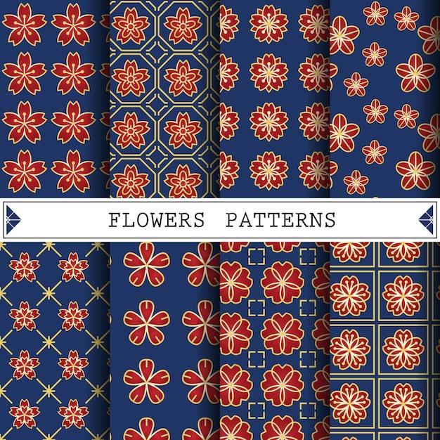 Modello di fiore per sfondo della pagina web o texture di superficie Vettore Premium