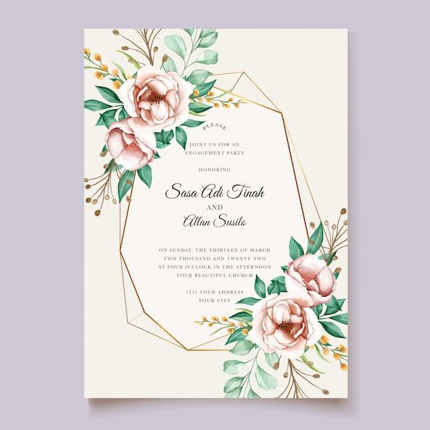 Modello di fioritura delle partecipazioni di nozze dell'acquerello del fiore della bella peonia Vettore gratuito