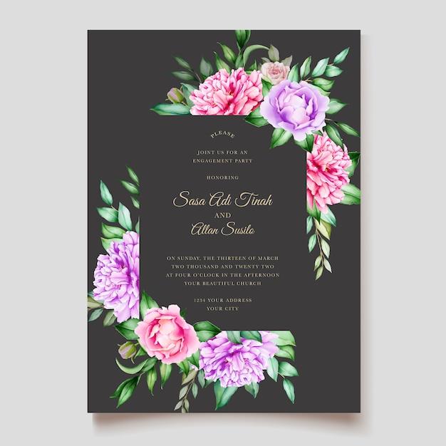 Modello di fioritura delle partecipazioni di nozze dell'acquerello del fiore della peonia rosa Vettore gratuito