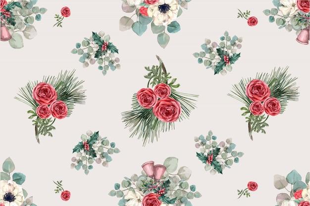 Modello di fioritura invernale con anemone, rosa, foglie di pino Vettore gratuito