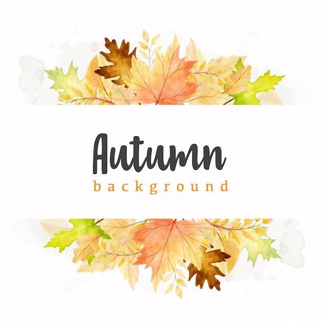 Modello di foglie di autunno dell'acquerello Vettore Premium