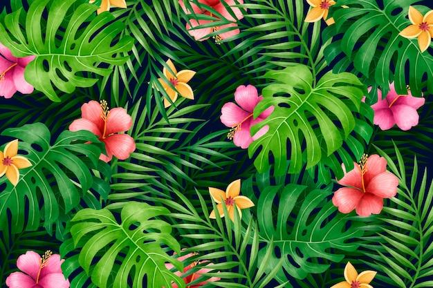 Modello di foglie floreali colorate Vettore Premium