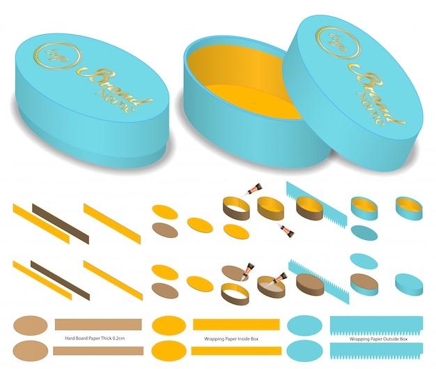 Modello di forma ovale con confezione di forma ovale. mock-up 3d Vettore Premium