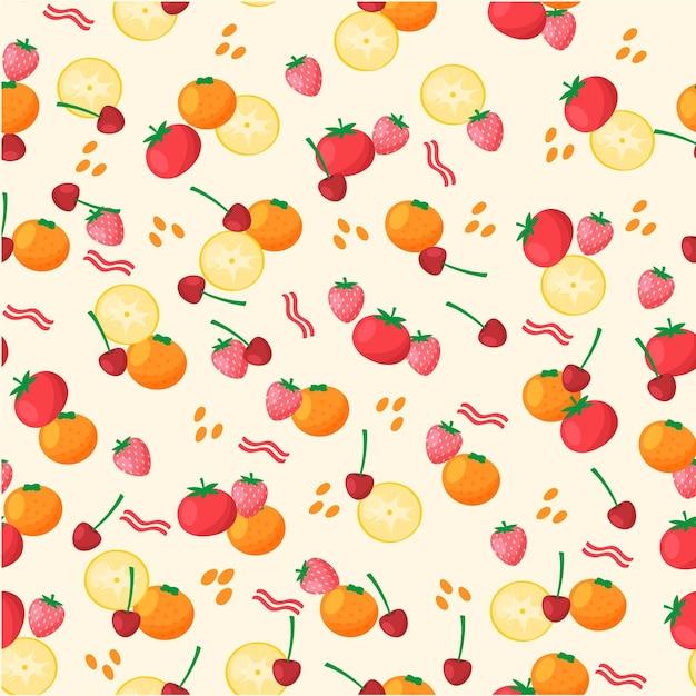 Modello di frutta con ciliegie e arance Vettore gratuito