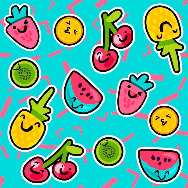 Modello di frutta e frutti di bosco gustosi dolci estivi Vettore Premium