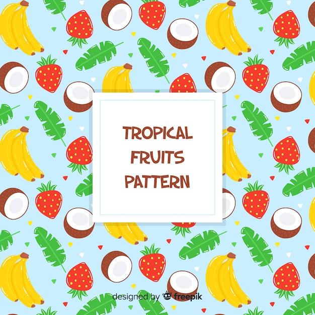 Modello di frutti tropicali disegnati a mano Vettore gratuito