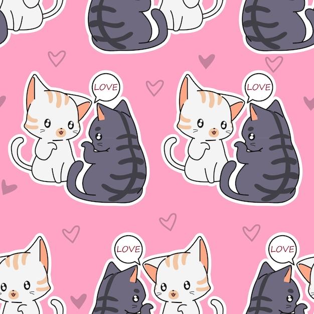 Modello di gatti amante senza soluzione di continuità. Vettore Premium
