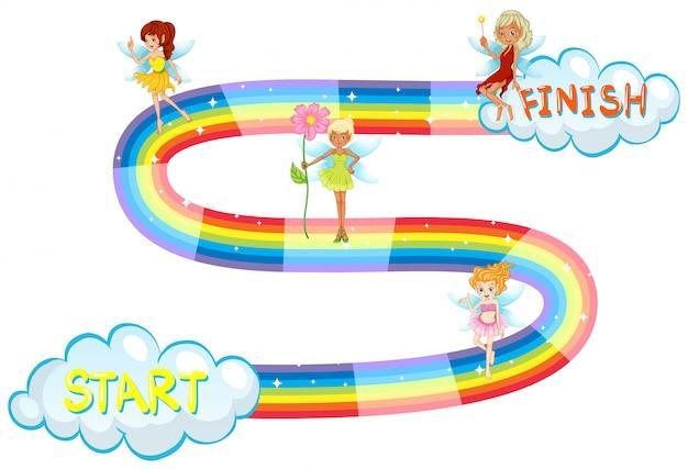 Modello di gioco con fate che volano su arcobaleno Vettore gratuito
