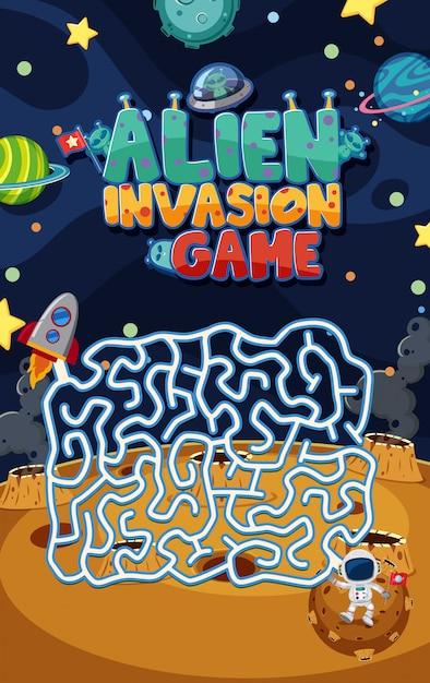 Modello di gioco con invasione aliena e labirinto in background spaziale Vettore Premium